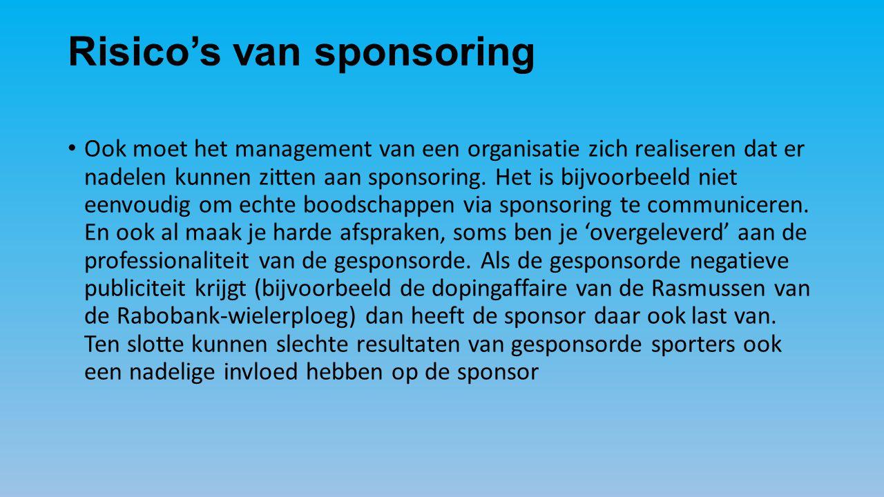 Risico's van sponsoring