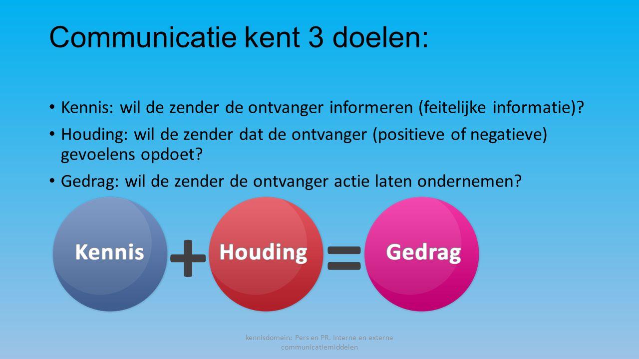 Communicatie kent 3 doelen: