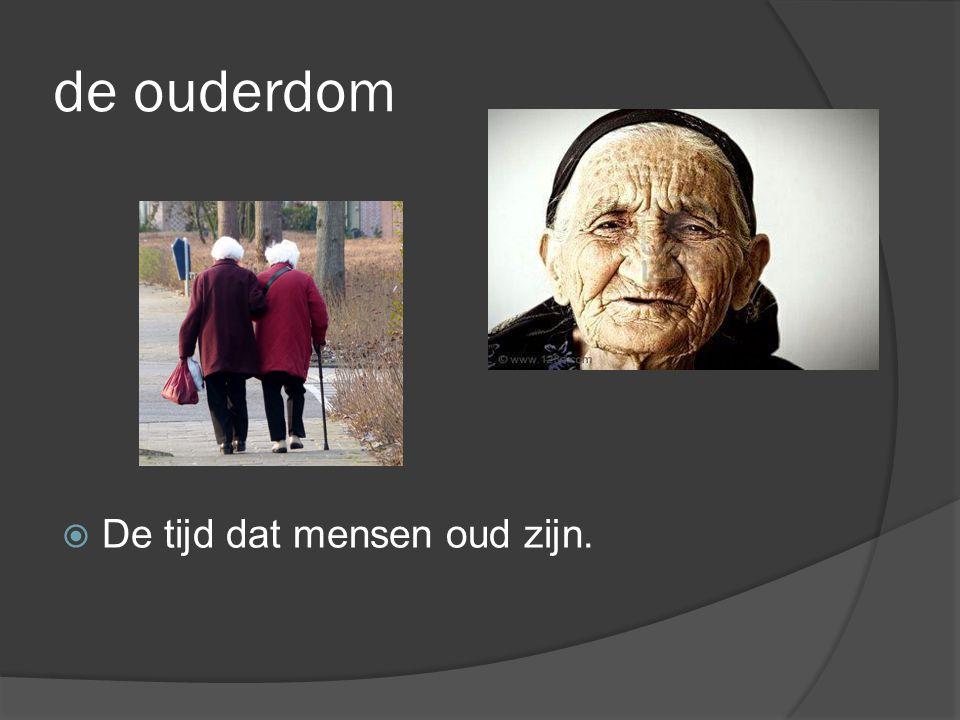 de ouderdom De tijd dat mensen oud zijn.