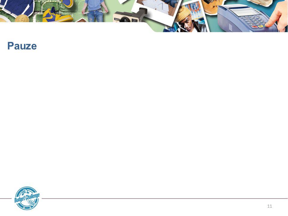 Pauze Slide 11: Pauze. Beschikbare tijd: overleg dit met de docent. Er is vijf minuten ruimte in het programma voor 90 minuten.
