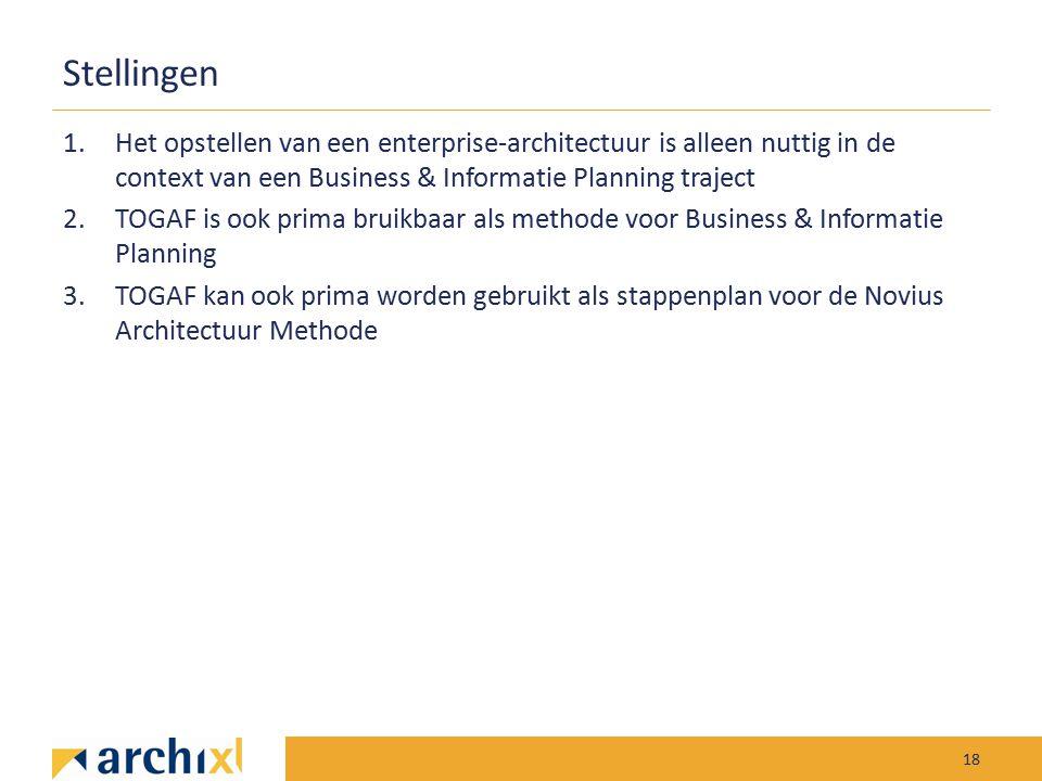 Stellingen Het opstellen van een enterprise-architectuur is alleen nuttig in de context van een Business & Informatie Planning traject.