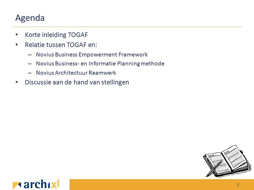 Agenda Korte inleiding TOGAF Relatie tussen TOGAF en: