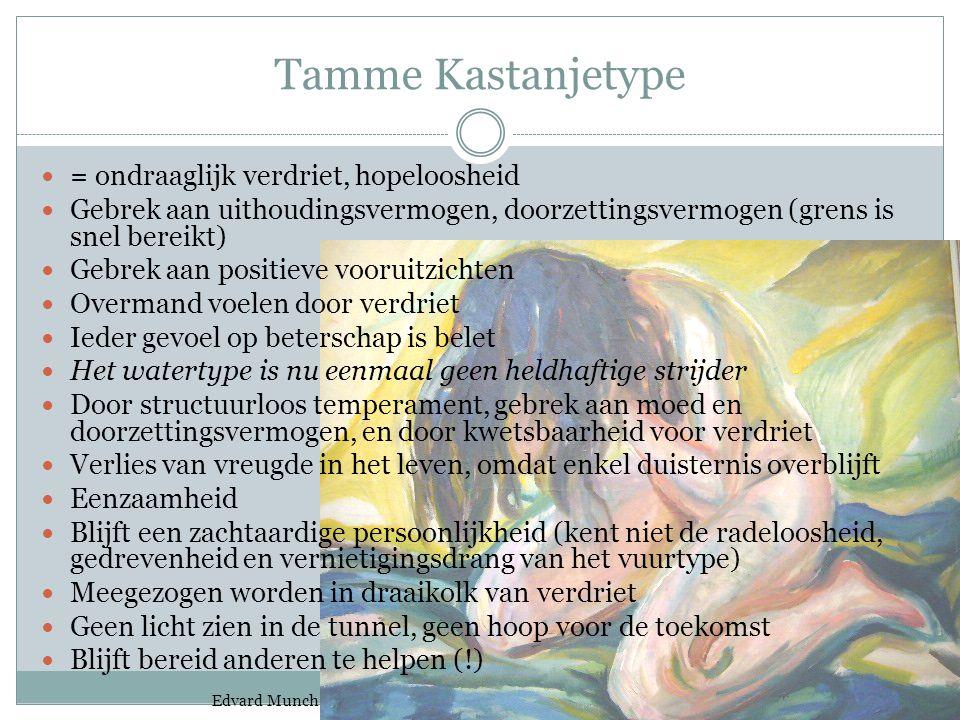 Tamme Kastanjetype = ondraaglijk verdriet, hopeloosheid