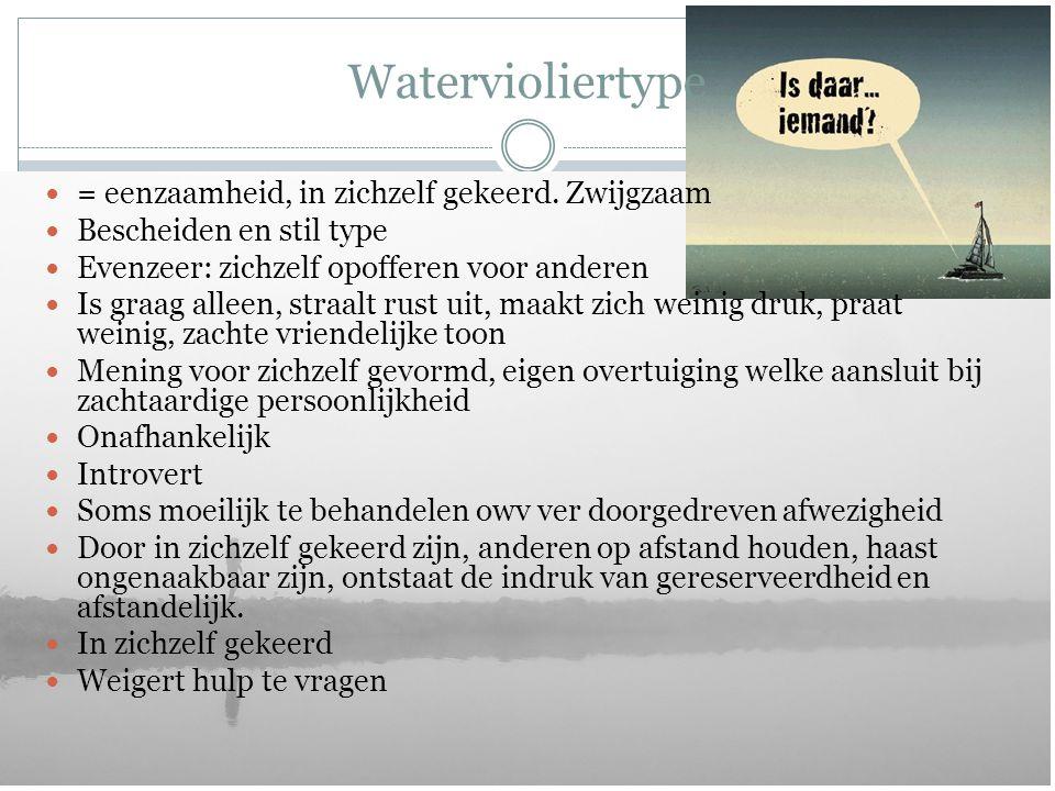 Watervioliertype = eenzaamheid, in zichzelf gekeerd. Zwijgzaam