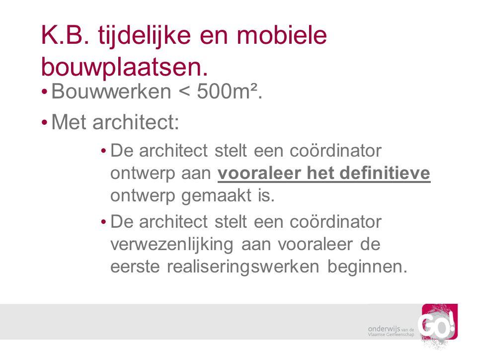 K.B. tijdelijke en mobiele bouwplaatsen.