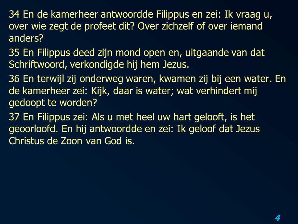 34 En de kamerheer antwoordde Filippus en zei: Ik vraag u, over wie zegt de profeet dit.