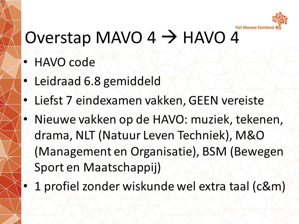 Overstap MAVO 4  HAVO 4 HAVO code Leidraad 6.8 gemiddeld