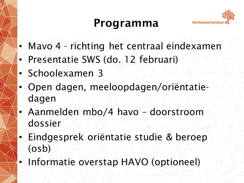 Programma Mavo 4 - richting het centraal eindexamen
