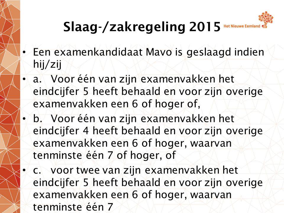 Slaag-/zakregeling 2015 Een examenkandidaat Mavo is geslaagd indien hij/zij.