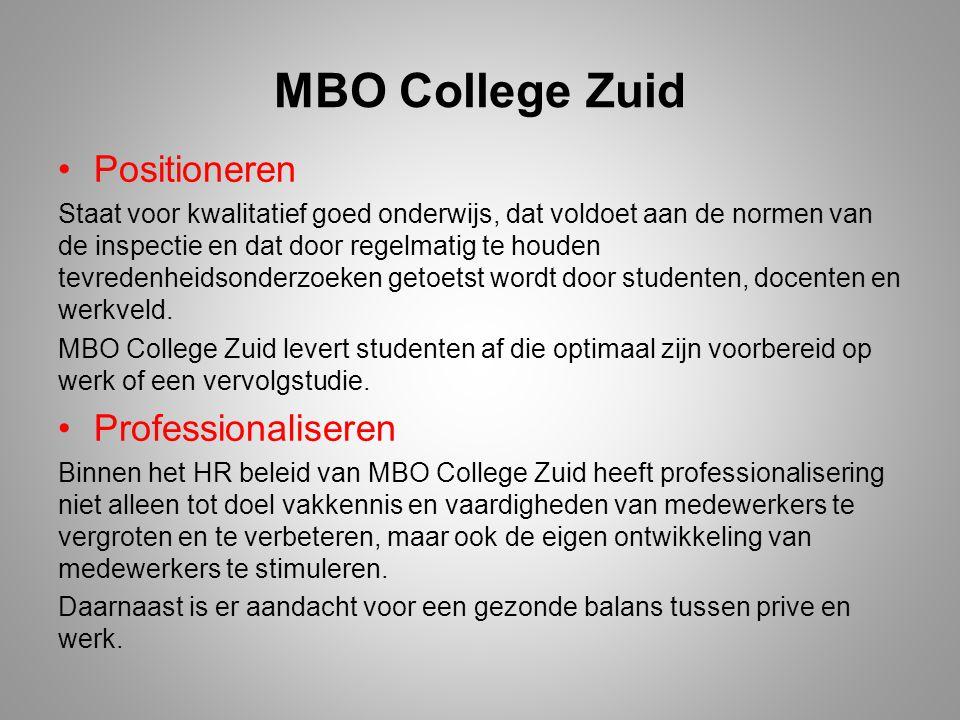 MBO College Zuid Positioneren Professionaliseren