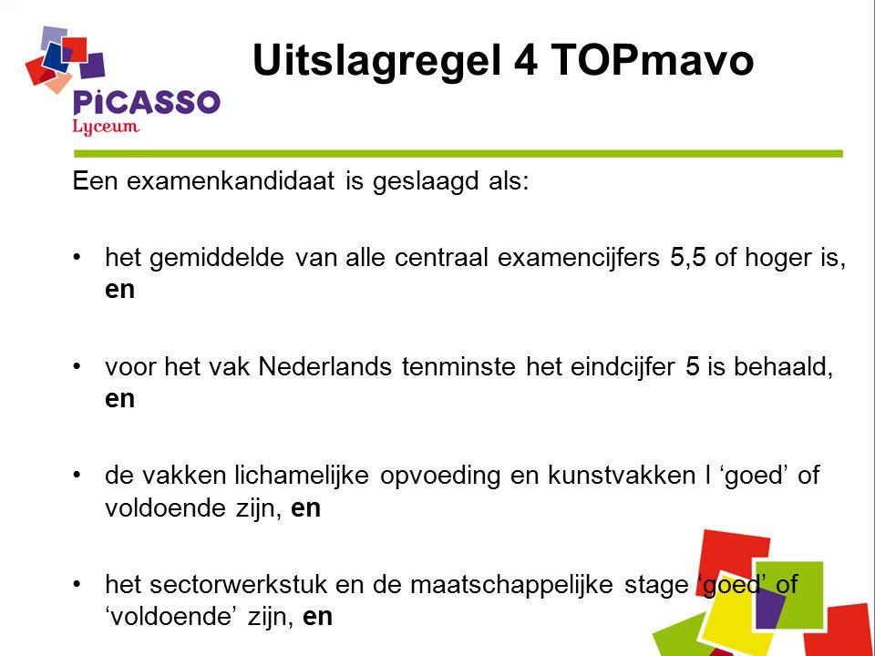 Uitslagregel 4 TOPmavo Een examenkandidaat is geslaagd als: