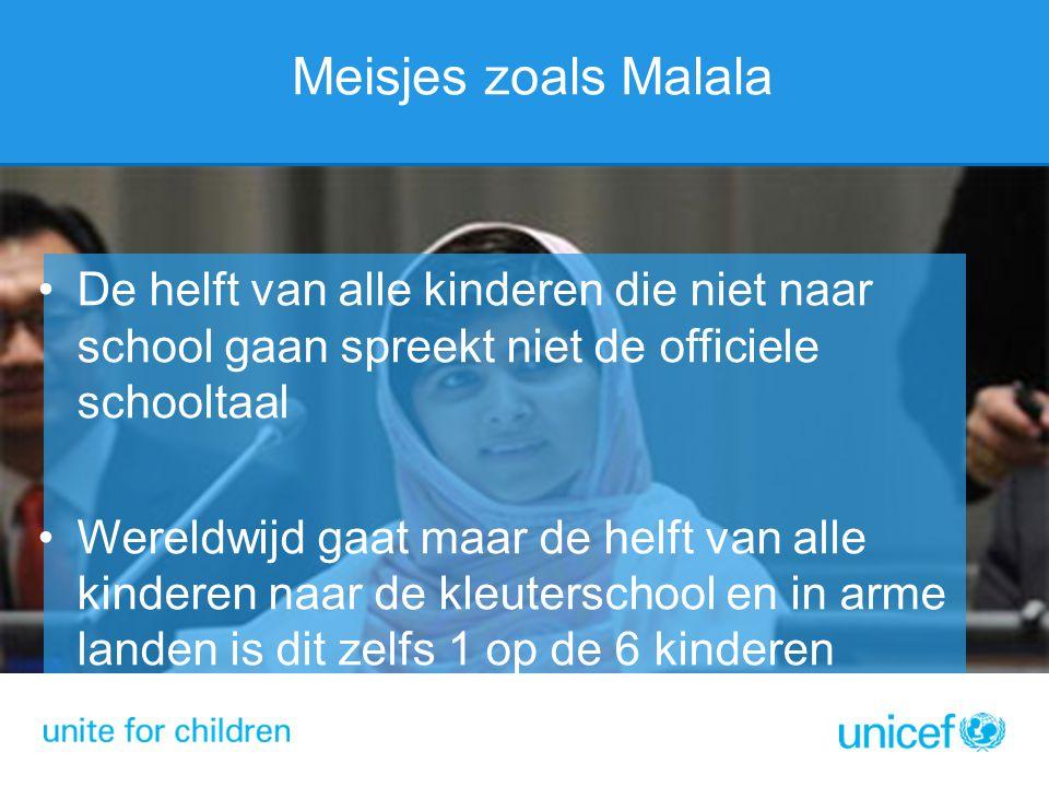 Meisjes zoals Malala De helft van alle kinderen die niet naar school gaan spreekt niet de officiele schooltaal.