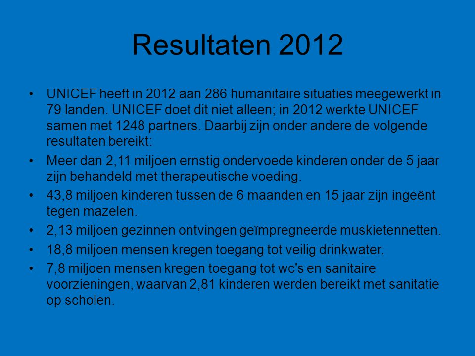 Resultaten 2012