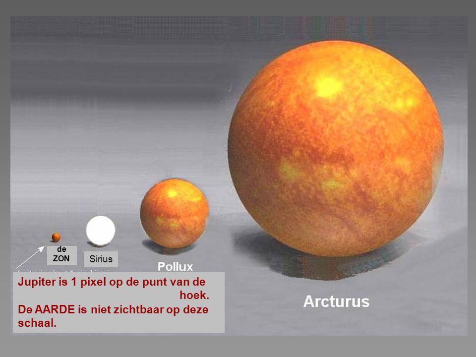 Jupiter is 1 pixel op de punt van de hoek.