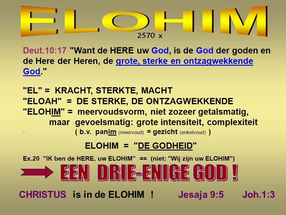 ELOHIM EEN DRIE-ENIGE GOD !