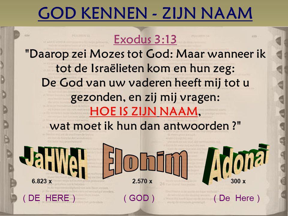 GOD KENNEN - ZIJN NAAM Elohim JaHWeH Adonai Exodus 3:13