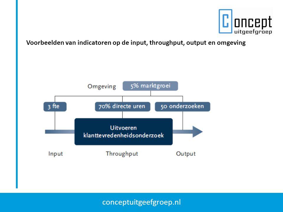 Voorbeelden van indicatoren op de input, throughput, output en omgeving
