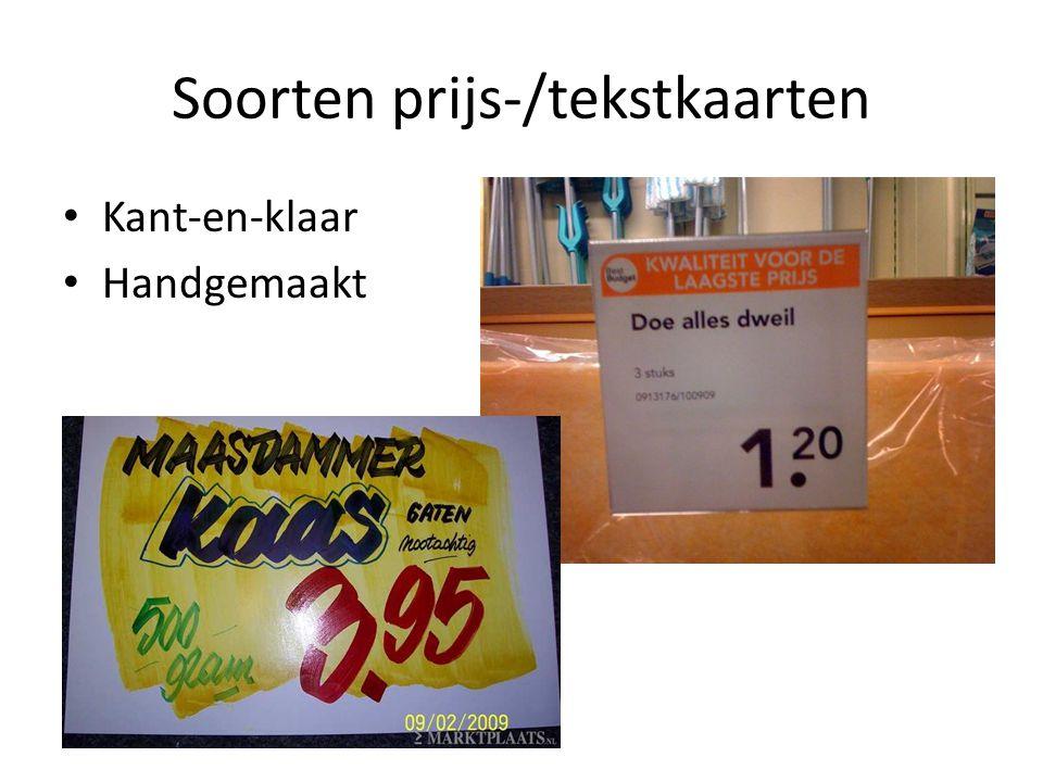 Soorten prijs-/tekstkaarten
