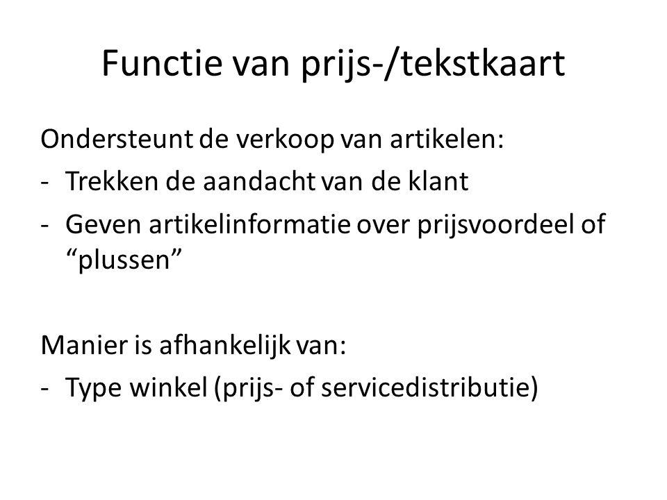 Functie van prijs-/tekstkaart