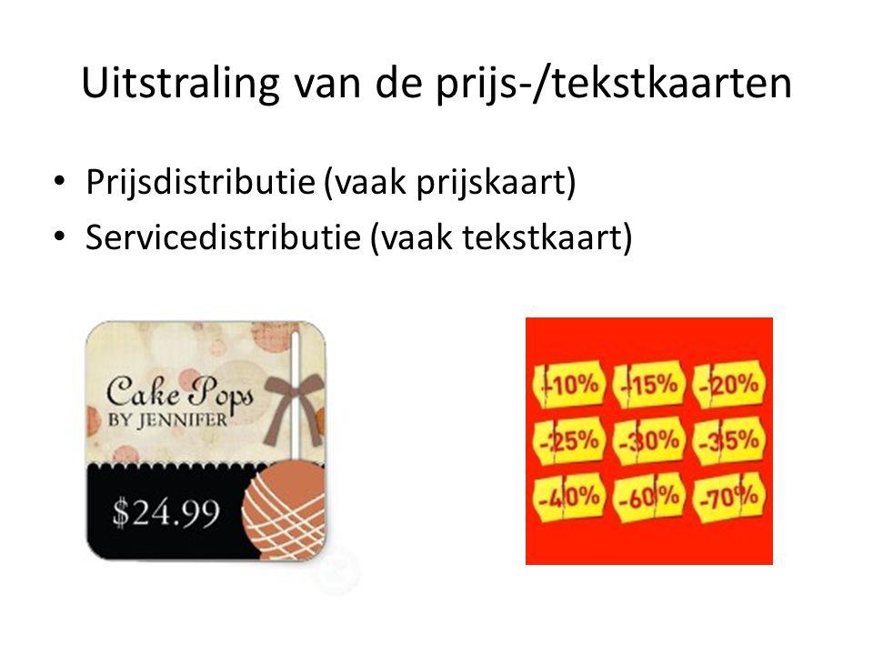 Uitstraling van de prijs-/tekstkaarten