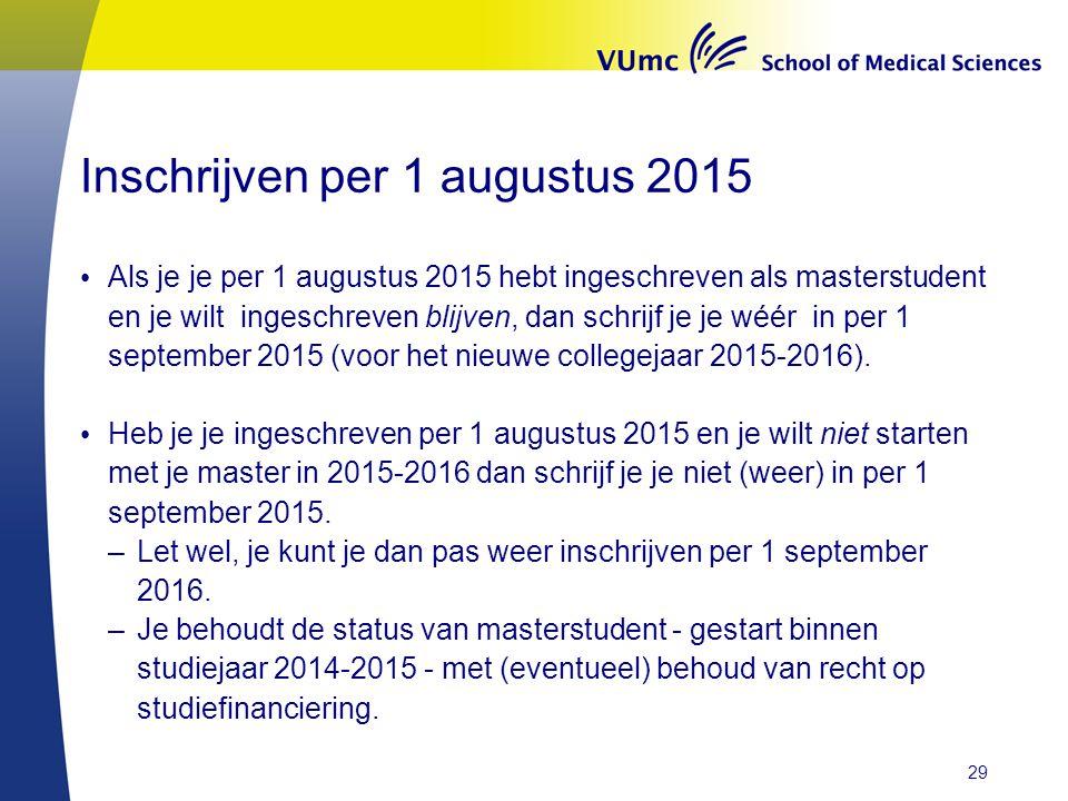 Inschrijven per 1 augustus 2015