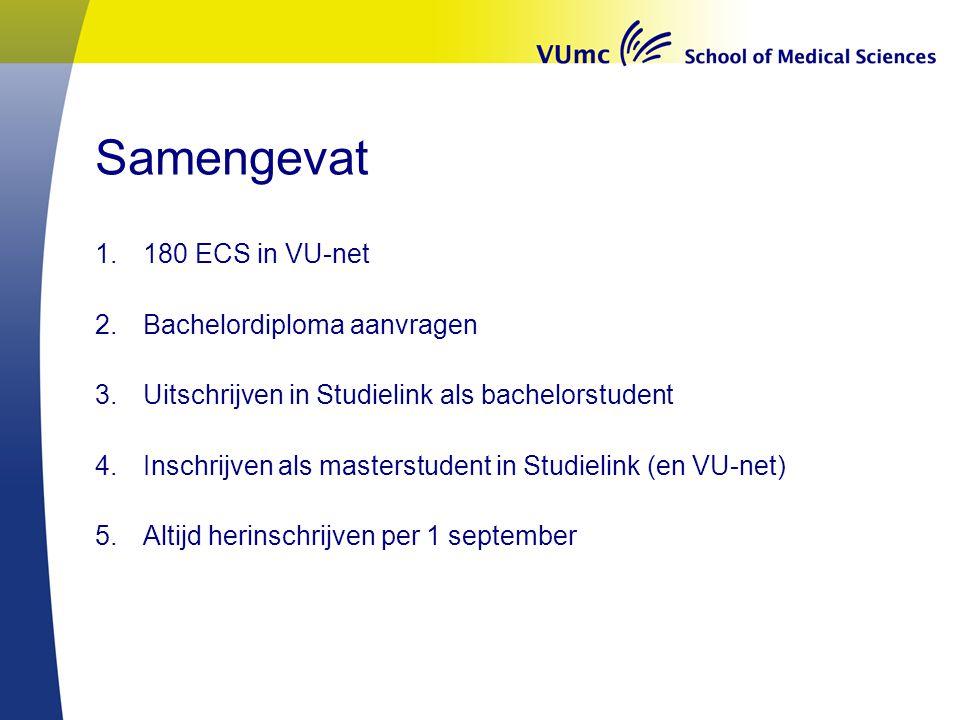 Samengevat 180 ECS in VU-net Bachelordiploma aanvragen