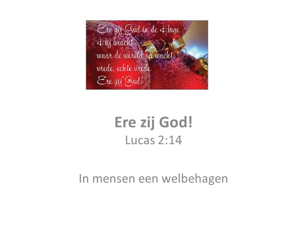 Ere zij God! Lucas 2:14 In mensen een welbehagen