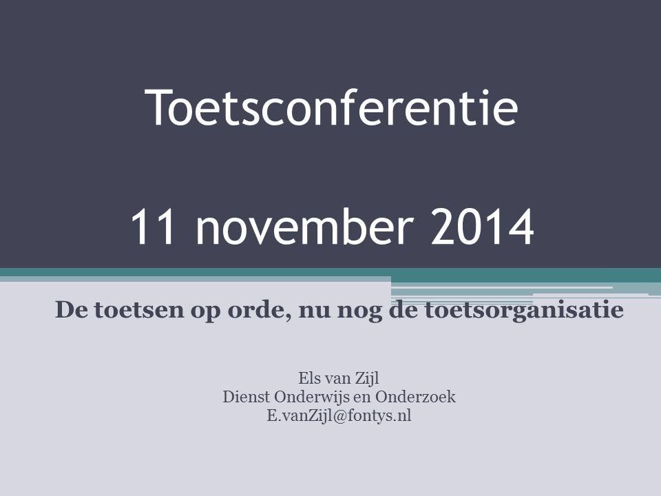 Toetsconferentie 11 november 2014