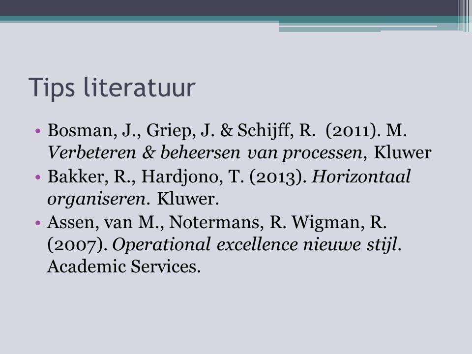 Tips literatuur Bosman, J., Griep, J. & Schijff, R. (2011). M. Verbeteren & beheersen van processen, Kluwer.