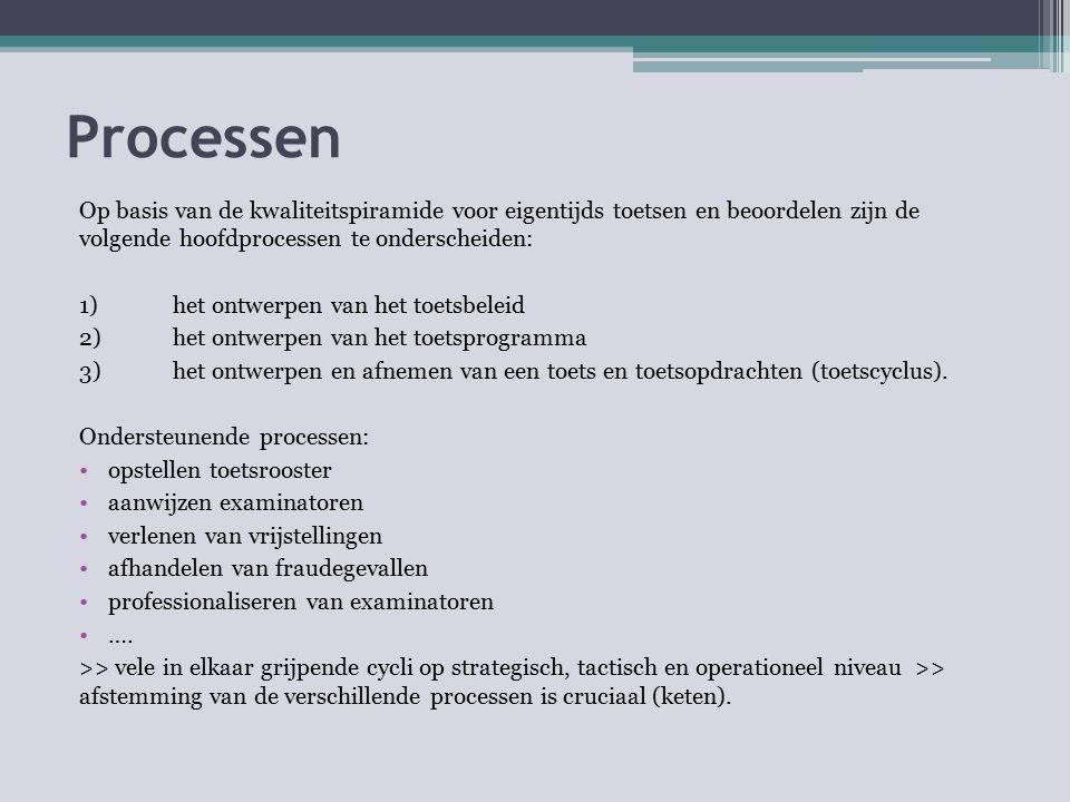 Processen Op basis van de kwaliteitspiramide voor eigentijds toetsen en beoordelen zijn de volgende hoofdprocessen te onderscheiden: