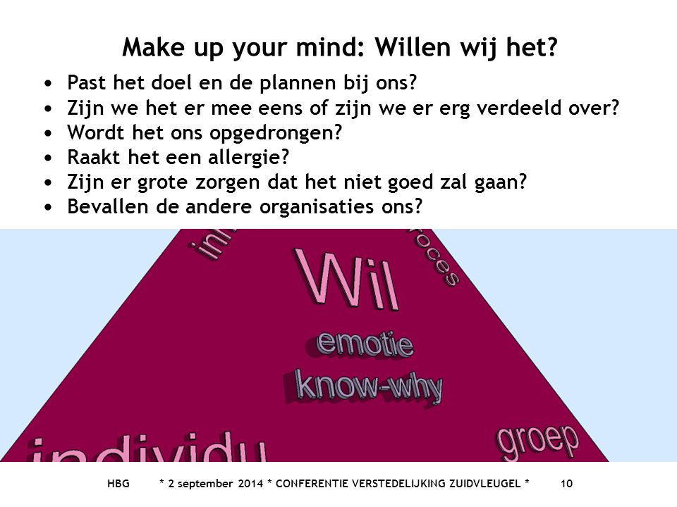 Make up your mind: Willen wij het