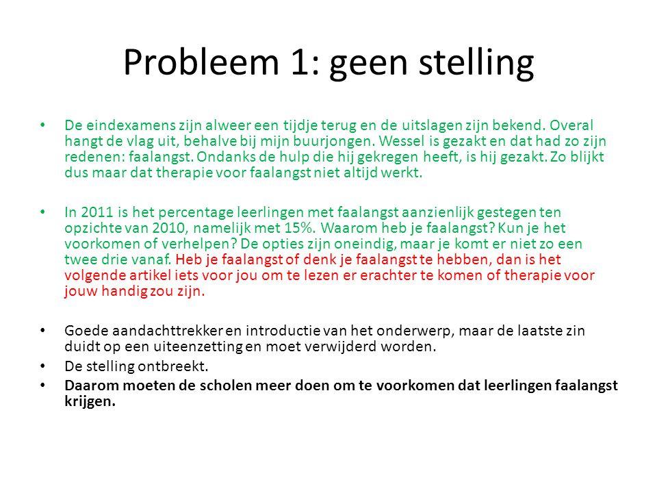 Probleem 1: geen stelling