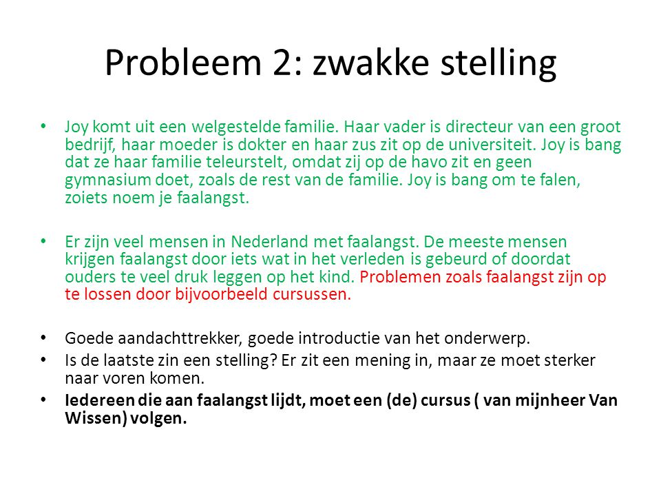Probleem 2: zwakke stelling