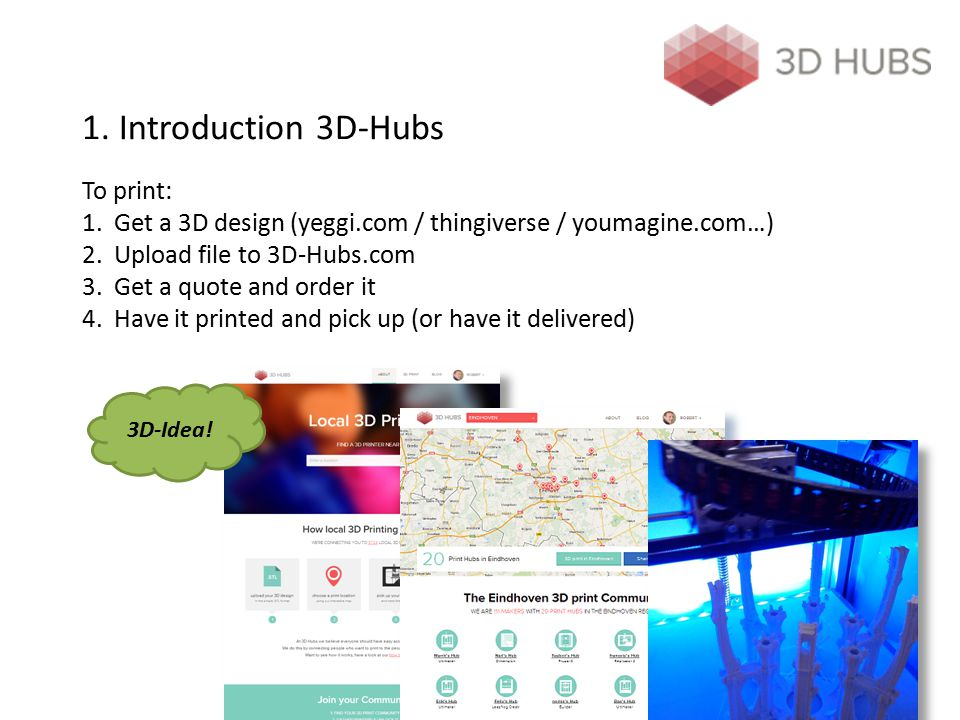 1. Introduction 3D-Hubs To print: 1. Get a 3D design (yeggi