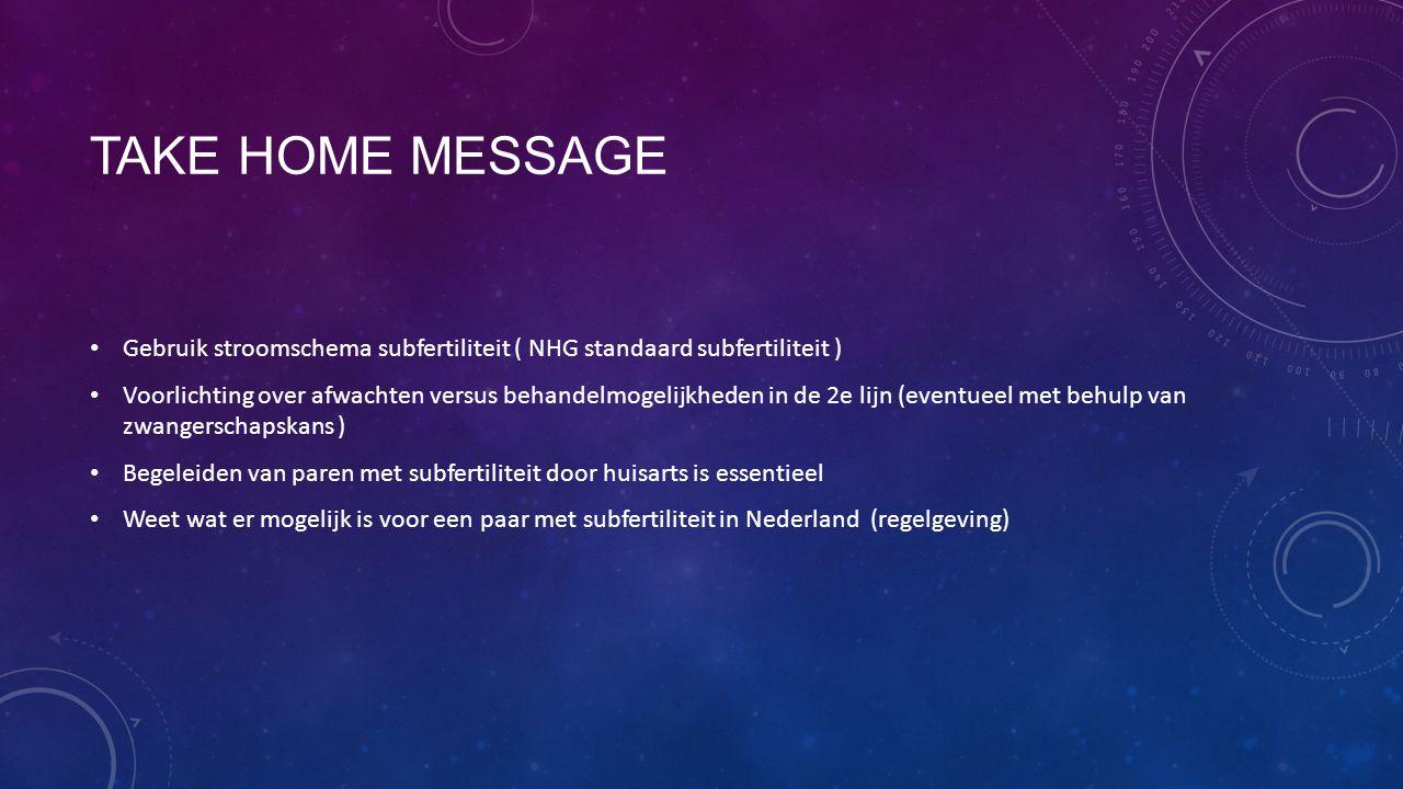 Take home message Gebruik stroomschema subfertiliteit ( NHG standaard subfertiliteit )