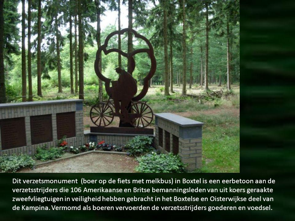 Dit verzetsmonument (boer op de fiets met melkbus) in Boxtel is een eerbetoon aan de verzetsstrijders die 106 Amerikaanse en Britse bemanningsleden van uit koers geraakte zweefvliegtuigen in veiligheid hebben gebracht in het Boxtelse en Oisterwijkse deel van de Kampina.
