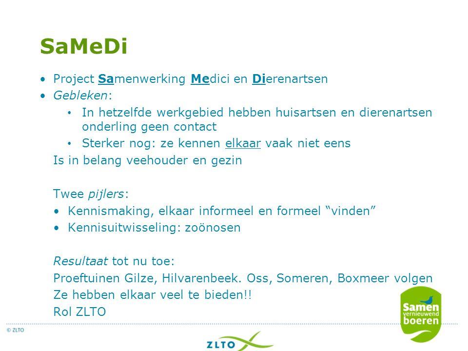 SaMeDi Project Samenwerking Medici en Dierenartsen Gebleken:
