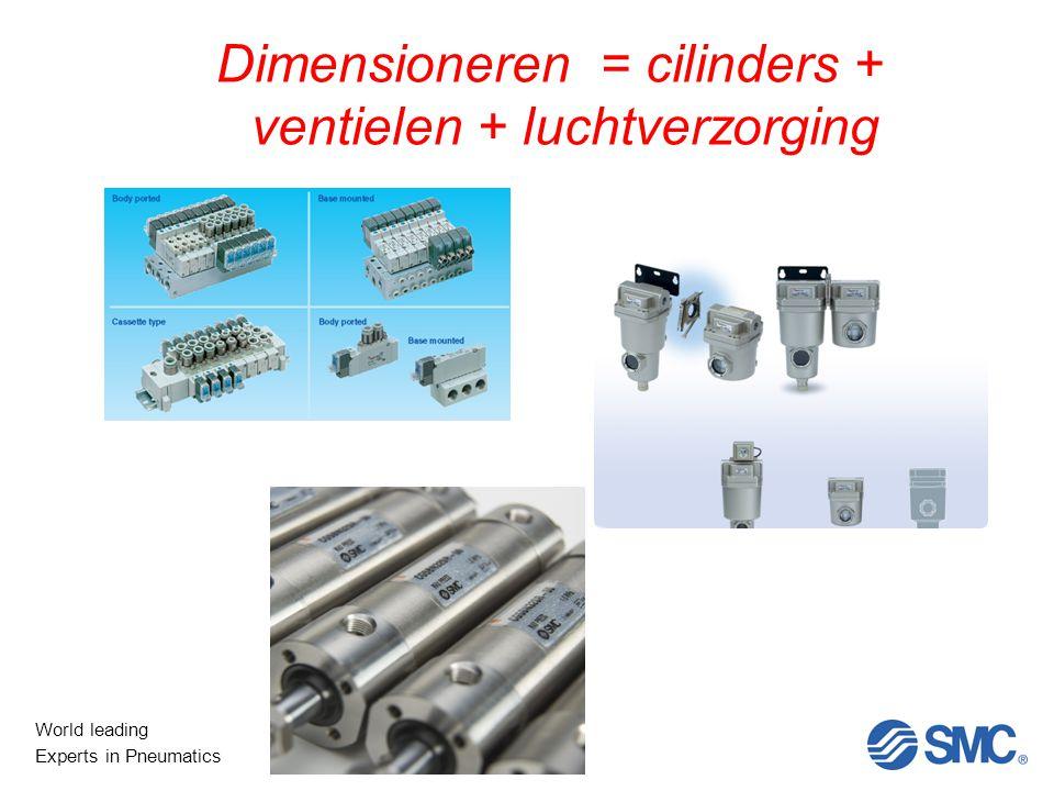 Dimensioneren = cilinders + ventielen + luchtverzorging