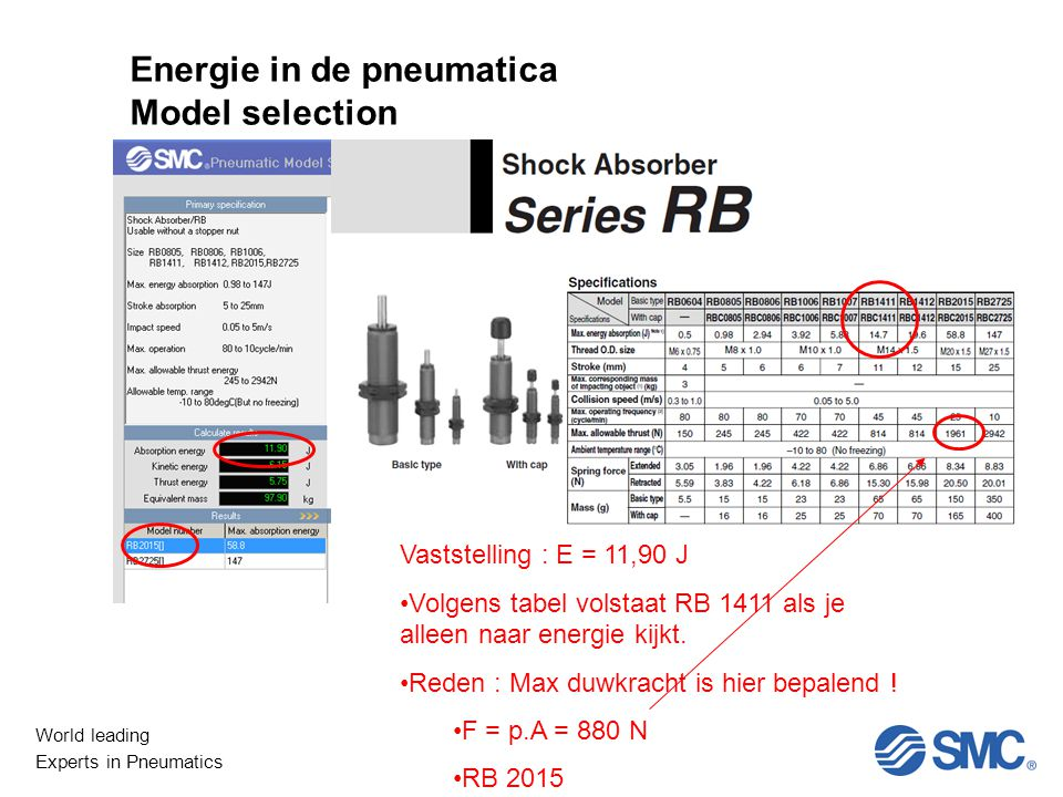 Energie in de pneumatica Model selection