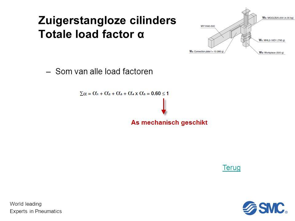 Zuigerstangloze cilinders Totale load factor α