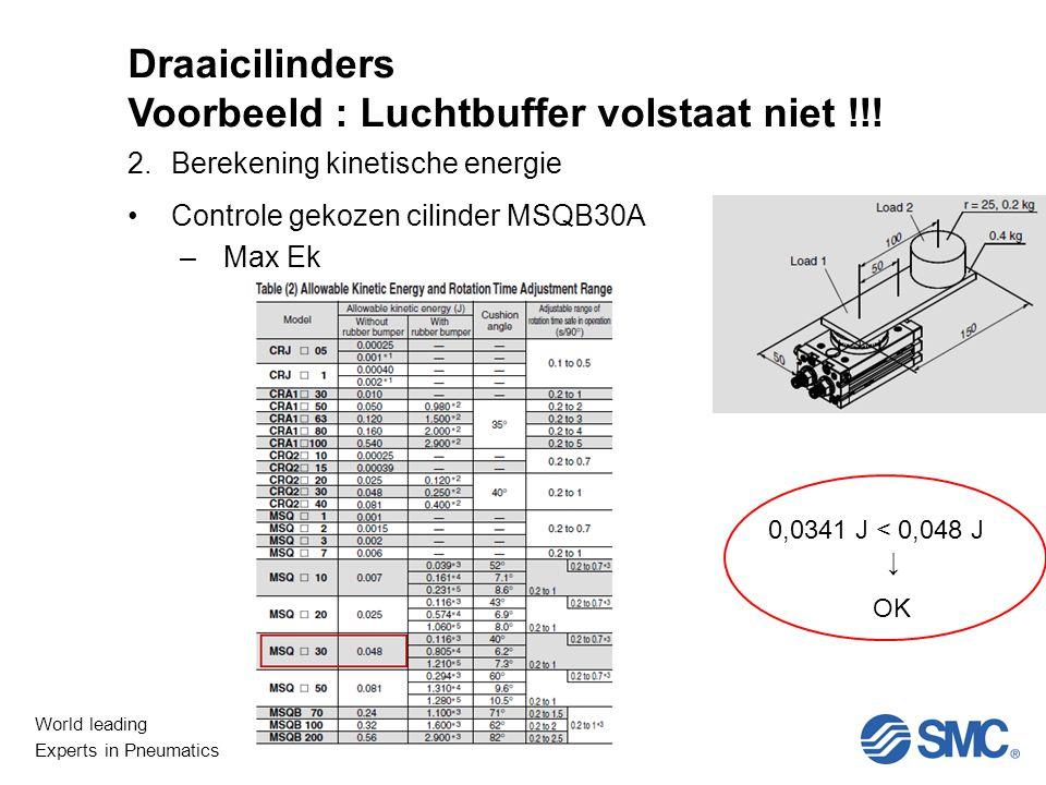 Draaicilinders Voorbeeld : Luchtbuffer volstaat niet !!!