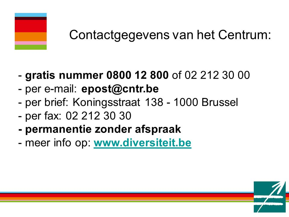 Contactgegevens van het Centrum: