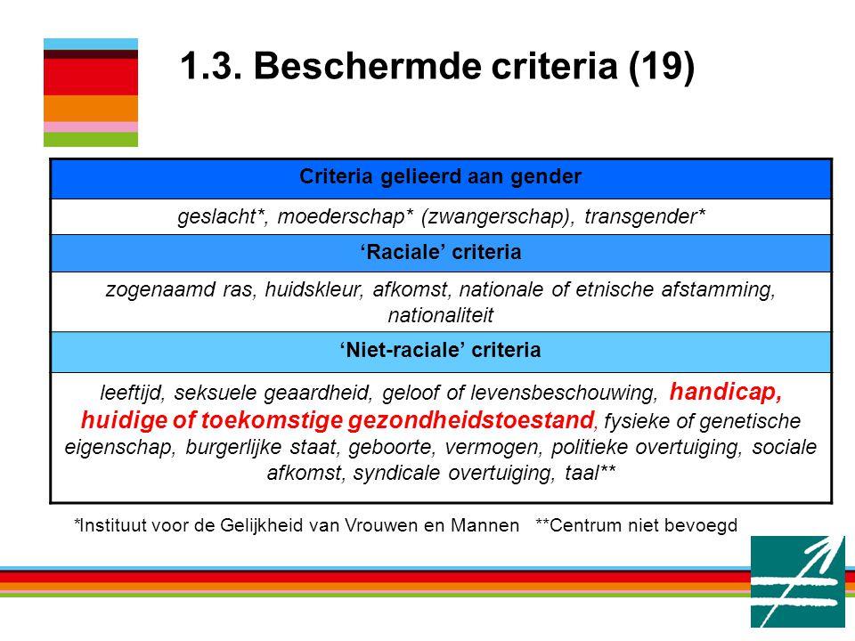 1.3. Beschermde criteria (19)