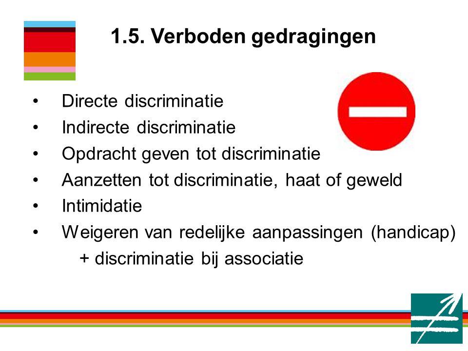 1.5. Verboden gedragingen Directe discriminatie