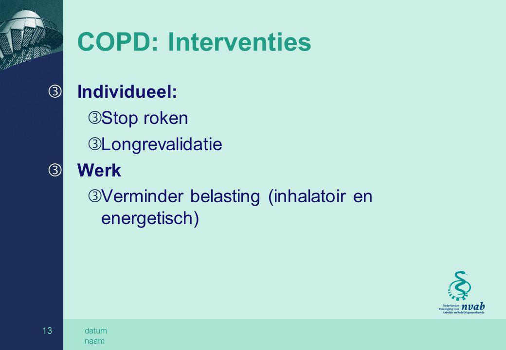 COPD: Interventies Individueel: Stop roken Longrevalidatie Werk
