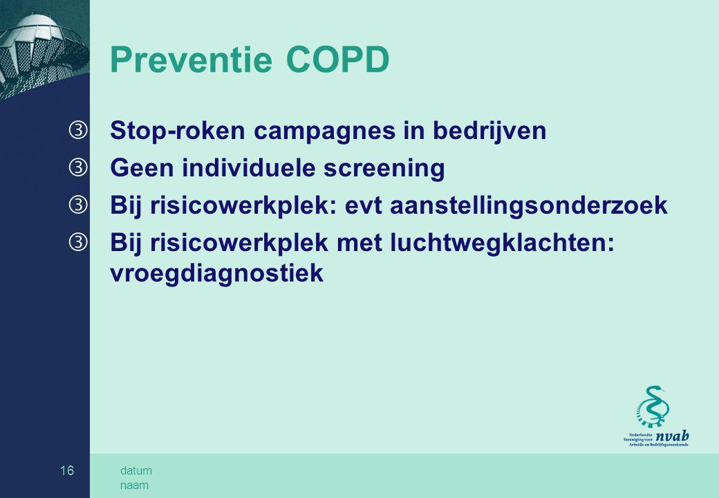 Preventie COPD Stop-roken campagnes in bedrijven