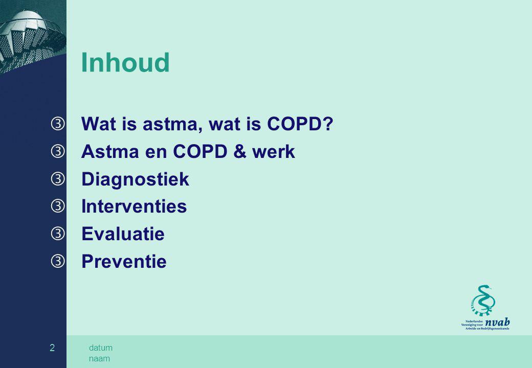 Inhoud Wat is astma, wat is COPD Astma en COPD & werk Diagnostiek