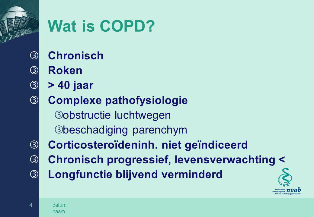 Wat is COPD Chronisch Roken > 40 jaar Complexe pathofysiologie