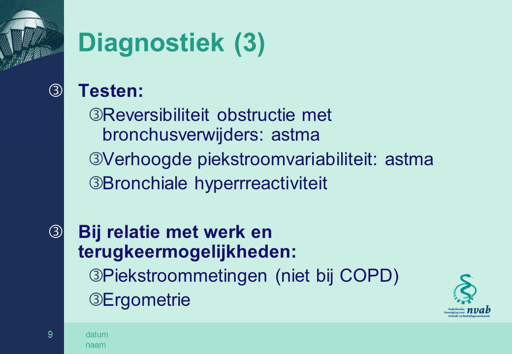 Diagnostiek (3) Testen: