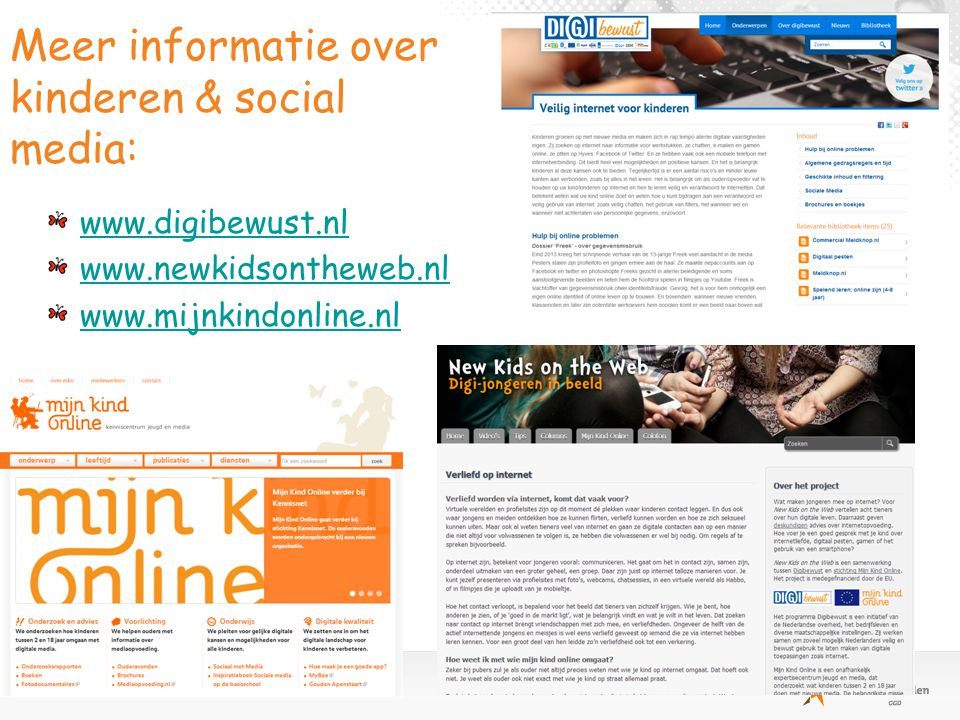 Meer informatie over kinderen & social media: